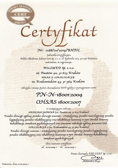 polimed certyfikat system zarzadzania bhp ohsas