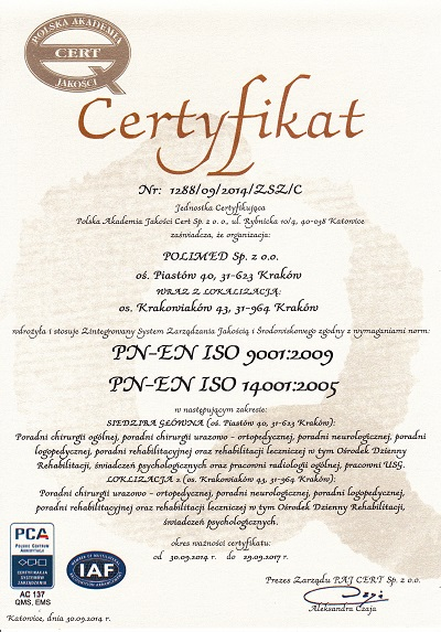 polimed certyfikat zsz jakosc srodowisko